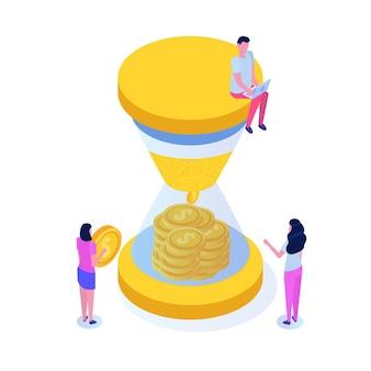 Il tempo è illustrazione isometrica del concetto di denaro.