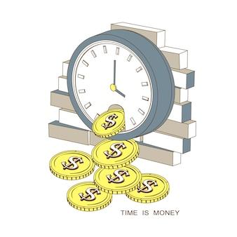 Il tempo è denaro concetto in stile linea sottile