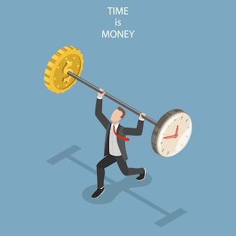 Il tempo è denaro concetto isometrico piatto