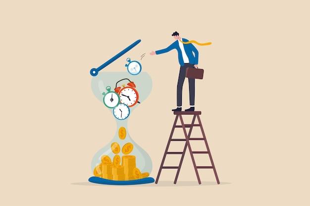 Il tempo è denaro, ritorno dell'investimento a lungo termine, concetto di fondo pensione, investitore intelligente dell'uomo d'affari che mette pezzi di tempo, orologio, sveglia e timer in clessidra che cadono al ritorno del profitto in denaro.