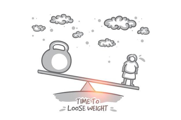 È ora di perdere il concetto di peso. la donna disegnata a mano vuole diventare magra. tempo per la dieta dimagrante isolata
