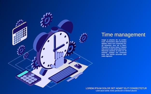 Gestione del tempo, illustrazione di concetto di vettore isometrico piatto di pianificazione aziendale