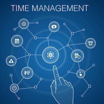 Concetto di gestione del tempo, sfondo blu.efficienza, promemoria, calendario, icone di pianificazione