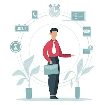 Concetto di gestione del tempo. uomo d'affari che pianifica le attività lavorative, programma di temporizzazione, lavoratore di affari circondato illustrazione delle icone di tempo. orario di lavoro, lavoro di gestione del tempo