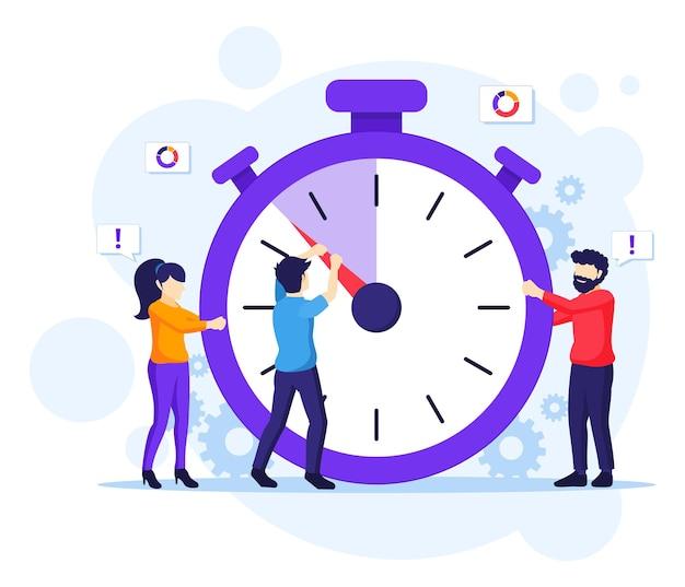 Concetto di gestione del tempo, persone che cercano di fermare il tempo su un'illustrazione di un orologio gigante