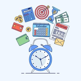 Concetto di gestione del tempo. pianificazione, organizzazione della giornata lavorativa.