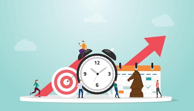 Il concetto di gestione del tempo con orologio e obiettivi mira alle persone