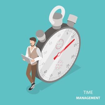 Concetto isometrico piatto di gestione del tempo