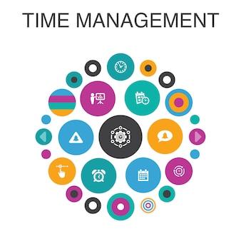 Concetto di cerchio infografica di gestione del tempo. efficienza degli elementi dell'interfaccia utente intelligente, promemoria, calendario, pianificazione