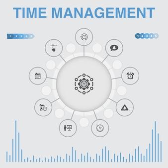 Infografica di gestione del tempo con icone. contiene icone come efficienza, promemoria, calendario, pianificazione