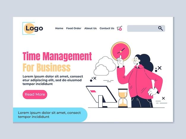 Illustrazione del design piatto della pagina di destinazione della gestione del tempo