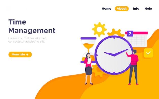 Illustrazione della pagina di destinazione della gestione del tempo