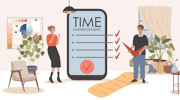 Ottimizzazione del lavoro dell'illustrazione piana di vettore dell'applicazione mobile di gestione del tempo e