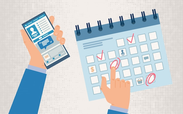 Concetto di app del telefono cellulare della gestione di tempo