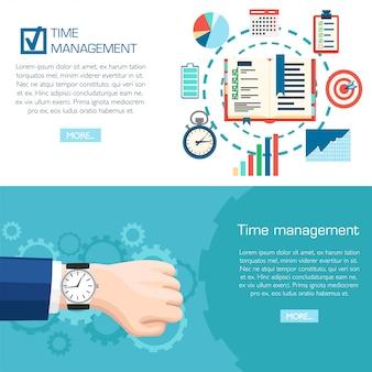 Concetto di pianificazione della gestione del tempo. orologio da polso a portata di mano. pianificazione, organizzazione del tempo degli affari. illustrazione su sfondo turchese con ingranaggi. pagina del sito web e app per dispositivi mobili