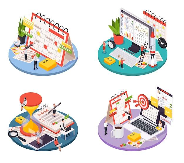 Set di icone isometriche del programma di pianificazione della gestione del tempo