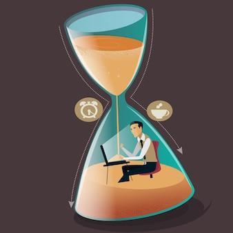 L'uomo d'affari dell'illustrazione di vettore del concetto di gestione del tempo sta affondando nella scadenza del progetto a clessidra