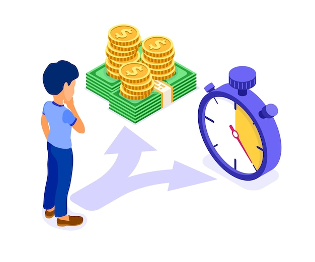 L'uomo del carattere di concetto isometrico di tempo o denaro fa la scelta tra monete e illustrazione isometrica del cronometro