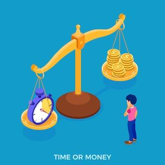 Uomo di tempo o denaro di fronte alla scelta