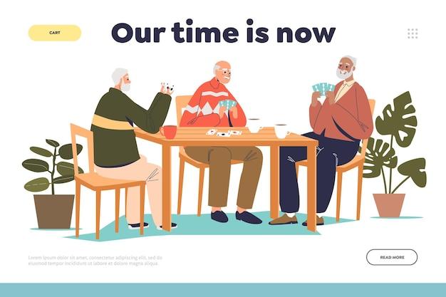 Tempo per il vecchio concetto di pagina di destinazione con un gruppo di uomini anziani