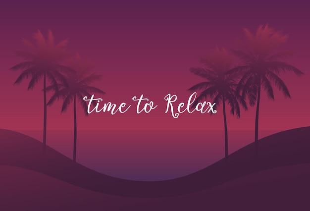 Tempo per rilassarsi, palme al tramonto, scena vettoriale