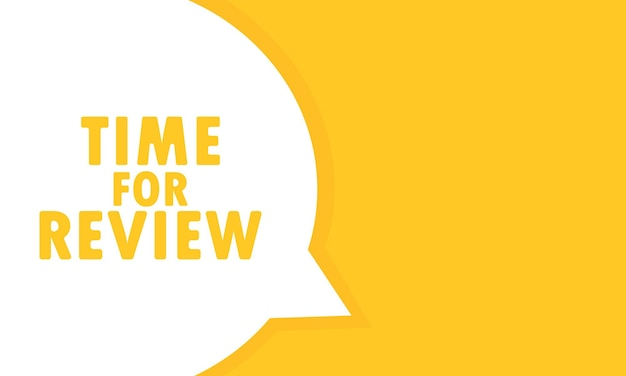 Tempo per l'insegna del fumetto di revisione. può essere utilizzato per affari, marketing e pubblicità. vettore eps 10. isolato su sfondo bianco