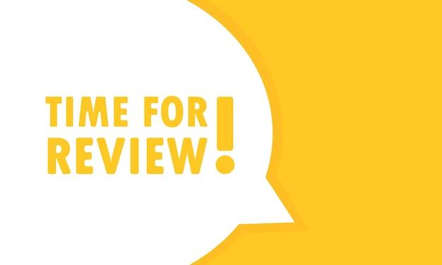 Tempo per l'insegna del fumetto di revisione. può essere utilizzato per affari, marketing e pubblicità. vettore env 10. isolato su priorità bassa bianca.