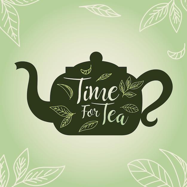 Tempo per il tè con pentola e foglie, bere colazione bevanda calda porcellana ceramica inglese e illustrazione a tema invito