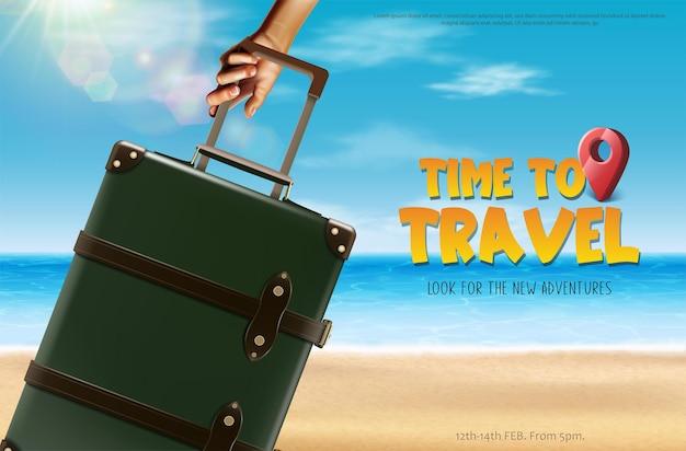 Tempo di viaggiare banner turista con bagagli sulla spiaggia