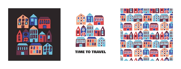 Time to travel cartoon background e pattern con case disegnate a mano