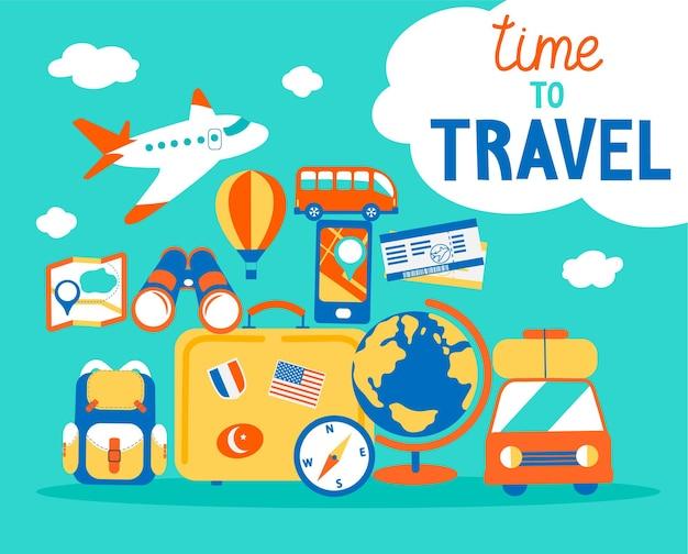 Tempo di viaggiare concetto. vacanze estive con diversi oggetti di viaggio. poster da viaggio con scritte disegnate a mano. illustrazione vettoriale in stile piatto.