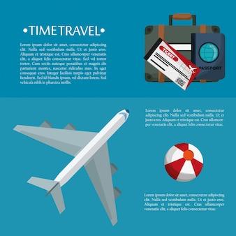 Illustrazione di plastica env 10 di vettore della palla del biglietto del passaporto della borsa dell'aereo di viaggio di tempo