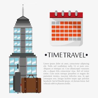 Punto di riferimento del calendario del manifesto di viaggio nel tempo