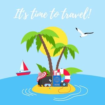 Tempo di viaggiare estate vacanza al mare vacanza poster o banner design piatto stile illustrazione vettoriale