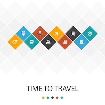 È ora di viaggiare alla moda del modello di interfaccia utente infografica concept.hotel prenotazione, mappa, aereo, icone del treno
