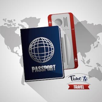 Tempo di viaggiare in bianco mappa sfondo passaporto