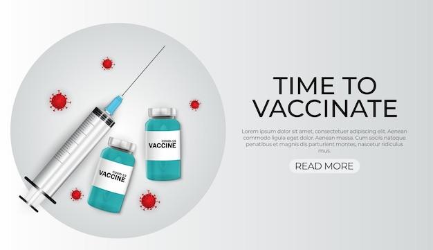 È ora di vaccinare il concetto 2021.concetto di vaccinazione contro il coronavirus.
