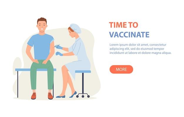 È ora di vaccinare lo striscione: il dottore vaccina il ragazzo.