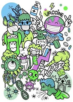 È ora di vaccinare il concetto vaccino per covid-19, doodle divertente