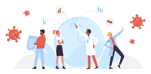 È ora di vaccinare, i personaggi del gruppo si difendono, in piedi con lo scudo della medicina del vaccino