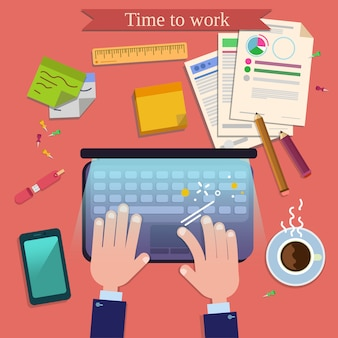 Ora di lavorare. vista dall'alto sul posto di lavoro moderno sulla scrivania con laptop e accessori per ufficio