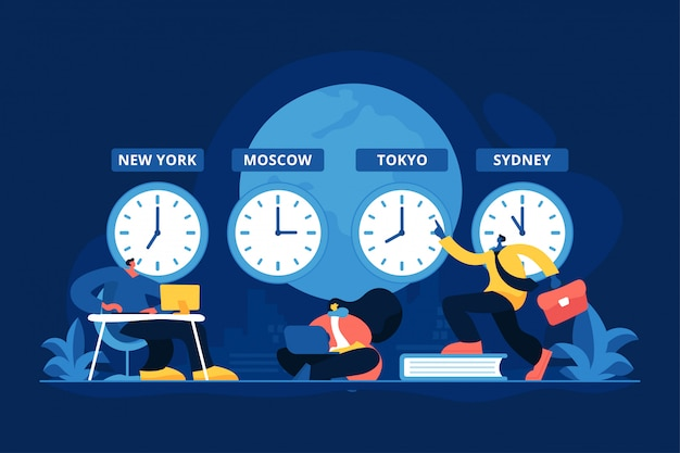 Illustrazione di vettore di concetto di fusi orari