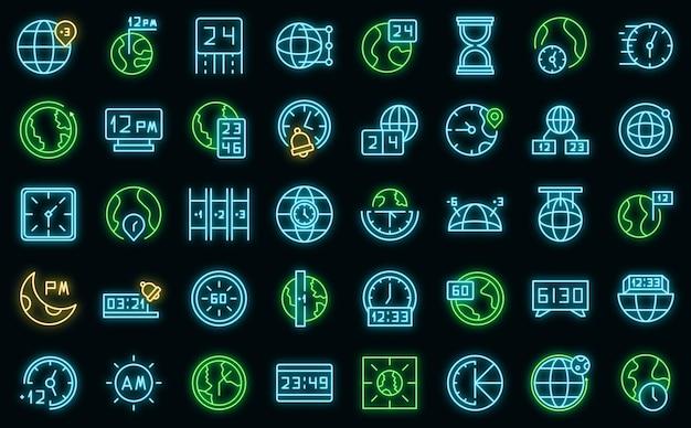 Le icone dei fusi orari hanno impostato il vettore neon