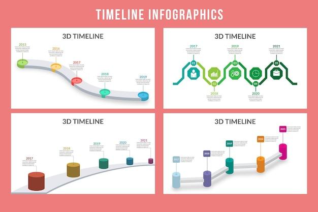 Timeline 3d infographic design