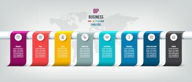 Modello di infografica aziendale grafico cronologico
