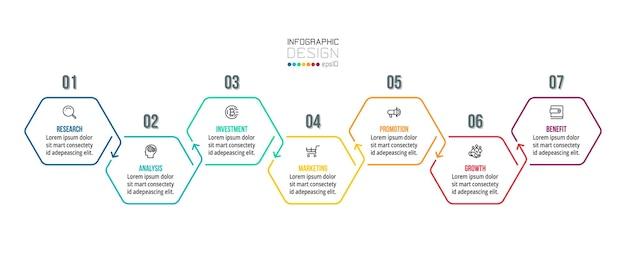 Modello di infografica aziendale grafico cronologico.