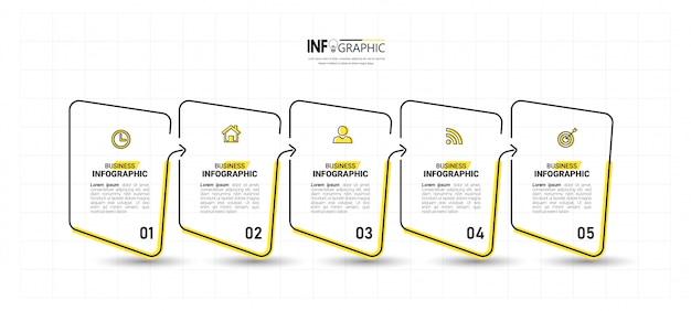 Cronologia infografica 5 passaggi.