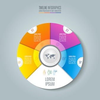 Concetto di business infographic timeline con 4 opzioni.