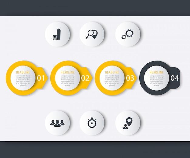 Elementi infographic di cronologia, icone, etichette di passaggio, progettazione di report
