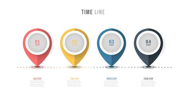 Progettazione di etichette infografica timeline con opzioni numeriche.